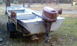14ft. boat, 25hp Johnson and trailer, call after 5
