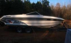 It's a Mach 1 boat don't know the year but it has a 351 Windsor motor it has a bunk in it I was told the motor ran but I don't have time for it it has water in the motor from where the carb has been uncovered and water got down in it it needs a little