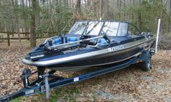 1992 Fiberglass 17 ft ProCraft Boat with trailer, almost brand new 70 lb thrust trolling motor, great condition, No motor but will carry 80 HP to 115 HP