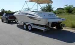 Ride above the rest, Sea Ray is known for its craftsmanship and quality and produce some of the best boats on the water today. This boat is equipped with a powerful 7.4 liter V8 Mercruiser motor and Bravo Three outdrive, motor has good compression on all