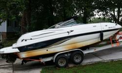 .,,,,,,,,,this Boat Comes AS-IS Where-IsThe interior of boat is in good condition but button down carpet worn, all gauges clear and working, tilt and trim work properly, porta potty (cust says never used) it has a 5.0 MPI Mercrusier drive system and dual