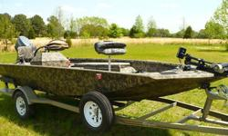 THIS BOAT IS IN VERY NICE SHAPE. THE ONLY THING I HAVE SEEN IS MINOR WEAR AND SCRATCHES WITH THE PAINT, AND ON THE MOTOR. 2004 TLRC YAMAHA TWO STROKE MOTOR RUNS GREAT HAS BEEN WELL MAINTAINED. FOOT CONTROLLED TROLLING MOTOR. DUAL DEPTH FINDERS. DUAL DEEP