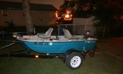 10.2 FT Bass Hound comes with 3hp game fisher outbound motor, a new 40lb thrust trolling motor, padded seats, live-well, navigation lights, new battery, fish finder, oar, 2 life vests, first aid kit, anchor, rod holders, fire extinguisher and trailer! I