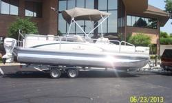 Bennington22 foott pontoon that was purchased new in 2006. Boat was trailered to the lake and back every summer but last summer it was in the lake for 2 months. equipped with pillow top upholstery, with two front and one rear fishing seats ( removable )
