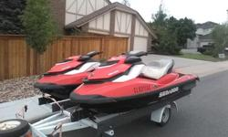 (2) 2012 gti 130 4 stroke 4 tec PWC jet ski with brakes. Both boats run great. Both have Brakes & reveres. In my opinion they're the safest PWC on the market.They are very stable (no balance required) You would really have to try to turn one over. The