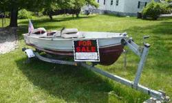 Loadrite Bandit trailer, 6HP Evinrude 4-stroke under 50 hrs, Complete fishing or pleasure package, Comes with everything you see pictured here, Battery, trolling engine, fishing rods, tackle, safety supplies, NO LEAKS, LIKE NEW, ATTRACTIVE DEAL, $2250.