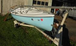 """Lockley-Newport 15"""" """"Surprise"""" model day sailer. A high-quality fiberglas day sailer ready to go, great for lake or bay sailing. Easy to trailer and setup. Made about 1975, but it looks like it's only a couple of years old due to very little use. Came out"""