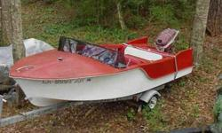 """""""Match your '57 DeSoto"""". Partially rebuilt fiberglass runabout. New seats, flooring, steering, windshield, rebuilt transom. Original papers on (California) motor w/ rebuilt lower unit. Trailer included."""