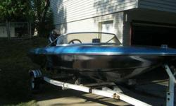 This is a great boat we bought it last summer and loved having it, but have found with two jobs don't have time for it. The boat has a 115hp Mercury line 6 outboard on it. This boat with four people will cruise at 40-45. The boat is water ready could take