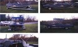 16' boat Ez load trailer Am-FM-Cd player, fish finder, brand new roof, brand new skipole, 40 hp 2 stroke evenrode runs awesome, pole storage, new bilge pump,