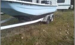 """19 feet carolina skiff with vee in the bottom. In terrific shape and has a front deck as well as a rear deck..Also has a 1"""" pvc pipe fiberglassed around the entire outer lip for added strength and durability..It comes with a 40 gallon aluminum gas"""