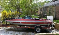 For sale 1985 15.5 foot fiber king speed/fishing boat nice heavy duty trailer . replaced floor and seat mounts last summer purchased 2 new batteries last summer has stereo, 2 anchors, paddles, bow mount trolling motor , lights,fishing rod holers, front