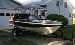 1988 Starline Cavalier 180 open bow boat for sale. Interior has been partially restored including a new floor and carpet as well as new upholstery. It has an older Eagle fish finder that works great. It also has a newer cobra marine radio, Jensen marine
