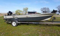 1987 Tuffy MWC Ltd 16 foot fiberglass boat, Mercury Classic 50 45hp tiller w/ manual tilt, 2 livewells, 20 gallon under-deck gas tank, MinnKota bowmount w/ co-pilot, Lowrance graph, matching K-Dee Launcher bunk trailer w/ shallow launch option. Newer
