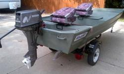 2001 12' WeldBilt Aluminum BoatAll welded, good condition, Yatcht Club Trailer with like new tires, 8HP Nissan Motor, Less than ten hours. Minnkota Trolling engine 30 lb thrust only pre-owned twice.$2600.00 OBOCall or Text Daniel with any questions at
