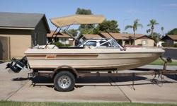 """JUST REDUCED !!!!!!! WON'T LAST LONG !!!!!!!! We have a 1981 Galaxie with 120 horse Mercriuser inboard / outboard that runs perfect and is lake ready. The Boat measure 16' 3"""" long and has no problems pulling skiers, tubes, or just going fishing. Comes"""