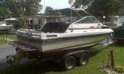 21' 1986 Bayliner Capri, 350 Chevy, AQ270 Volvo Penta outdrive, new water pump and Bellows. Runs fine, the pictures are from August 20, 2012. The trailer has new spings and tires.