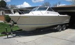 Classic fiberglass Century direct drive with a great running Chrysler 440/330hp motor w/ new exhaust. Comes on a tandem axle trailer. Needs interior work. This is a wide boat (9' beam, 7.5 bottom) It's stable enough for offshore fishing but this is a
