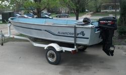 14 ft Alumacraft V14 200025 hp Mercury 2003 hardly used..Spring tune-up by Drantells done.Spartan TrailerNEW! in box MinnKota Endura C2 30 Trolling Motor W/ Battery .. ???? call 507-340-5637Or Best Offer