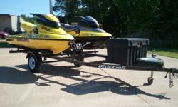 Excellent condition, fresh water only, run and ride great, very fast, seat suspension for soft ride, trailer with hard storage bin included, single cover, life jackets, good tires and bearings, trailer lights are functional.