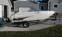 THIS IS MY VERY CLEAN 18.5 RINKER OPEN BOW WITH 4.3 LITER V-6 (GOOD ON GAS) DEPENDING ON WATER CONDITIONS 40 TO 45 MPH. EVERYTHING WORKS AND IT IS VERY CLEAN FOR A 12 YEAR OLD BOAT. INCLUDED EXTRA PROP AND TUBES FOR PULLING. THE TRAILER IS A 2007 TIRES