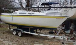 Great little North American Spirit, 23' with tandem axle tilt trailer for the beginning or experienced sailer (maybe a graduation present). Multiple sails, new Garlick motor mount with a fresh tuned Mariner outboard. Good day sailer or weekend camper in