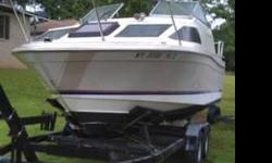 Good boat, ready for the water today. Newly rebuilt 4 cylinder engine. Sleeps 4 with sink, stove and toilet. Trailer does come with boat and has a spare tire. This boat is in very good condition.