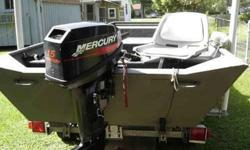 EXCELLENT CONDITION - All stored in garage. **2006 Weldcraft 14' Aluminum Flat Bottom Jon Boat + **2005 Mercury 15 HP Motor with Electric Start - 6 gallon - 12v battery, only used less than 20 hrs + **2006 Sportsman Trailer with/license + anchor, 2 life