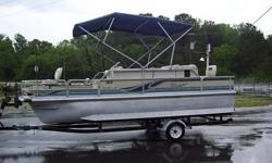 2000 Voyager VS21 Pontoon with a Johnson 70hp 2 stroke oil injected motor and Tennessee Trailer. Has aluminum floor, power trim, livewell, Bimini top, 4 fish seats 2 aft, and 2 at bow, depthfinder. Can water demo.