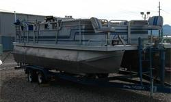 Ercoa 21? El Captain Pontoon Boat, Bimini Top, Front Fishing Seats, 90 HP Mercury Outboard, Fish Finder, Stereo, Swim Ladder and Tandem Axle Trailer.