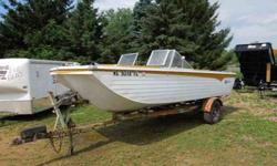 1971 Crestliner Tiger Muskie 17' .. Rare and Beautiful.. Stabilized V-wing model, 302 Ford V8 engine with a Merc outdrive, 2012 registration, everything in attractive shape, (trailer need's paint) Canvas cover in good shape. Wisc title card...first $2900