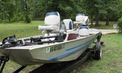 great condition,16ft Landau aluminum v-hull. 35 Johnson motor, HD trailer, trolling motor, 2 fish locators,live well ,new seats. 870-430-5948
