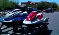 2 Kawasaki Jet Skis w/trailerBoth have very low hours and run great. . .amazingly fast! Adult ridden, in fresh water (I got them in the mid-west, - only in salt water once). Very clean, the usual (minimal) signs of use. Fresh oil change just completed.