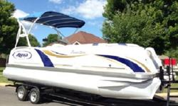 removable bimini top, wake tower, removable dining table, am/fm/cd/aux port stereo w/ kicker speakers, 2 amps, color GPS depth finder, master power switch, tilt steering wheel, stainless steel cup holders, blue led interior courtesy lights, and even the