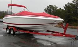 Boat comes with matching red Bimini Top which can cover almost entire boat (photographed) and brand new matching red full mooring cover (just had it custom made to fit boat like a glove and snap on. Features Double-wide Helm Seat w/flip up bolster for