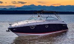 Very rare, this 30-foot Cobalt cuddy cabin cruiser is the perfect combination of outside entertainment and inside accommodations. (Few of this model were ever produced; most 30' Cobalts are open bow-riders). Under 190 hours on a pair of 320 hp 5.7 L fuel
