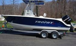 This 2008, 21 foot Trophy Pro model 2103 is located in indoor storage in Leicester, Massachusetts and is ready for immediate sale. Her one owner bought this boat in 2009 as a 2008 leftover. Since then the boat has only been operated on fresh water lakes,