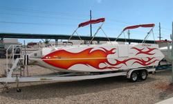 2005 28? Cheetah Fast Cat - 425 HP Mercruiser 496 Mag HO, Through Hull Exhaust, Bravo One X, Drive Shower, 4 Blade SS Prop, Dual batteries w/ Switch & Quick Charge Terminals, Double Bimini Tops w/ Struts, AM FM CD Stereo, Power Engine Hatch / Sun Deck,