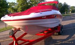 ---Crownline 240EX Deckboat. 2004, 24', Merc 260hp, Bravo 3 -- Dual Stainless Steel Prop, Less than 90 hours, Dual Batteries with built in charger. Includes matching dual axel Prestige trailer brakes and with spare. Great family boat. Rated to hold 13.