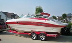 The boat for sale has a 350Mag 300 HP with Bravo III out drive. Always maintained and Garage kept. It comes with all ski vests and additional life jackets. Wake board, skis, tube and all other accessories. It also comes with a RollCo trailer. It also has