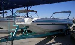 Nice! V-Hull Deck Boat, 385 HP Mercruiser 454 Mag MPI, Through Hull Exhaust, Bravo One Drive, Drive Shower, SS Prop, Hydraulic Trim Tabs, Bimini Top w/ Struts, Large Integrated Swim Platform w/ Ladder & Ski Tow, Walk Through Transom, Large Front Swim