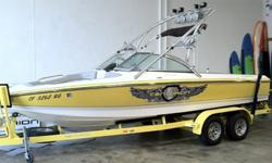 22? V-Drive WakeBoard/Surf boat with MerCruiser Black Scorpion 330 HPBoat Options Include:Brushed aluminum collapsible tower, 6 tower lights, 4 tower speakers, upgraded interior speakers, 2 - 1000W amps, bimini top, board racks, teak swim platform, depth