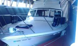 Two new engines, new wiring and steering, full electronics package make this 1971 Egg Harbor Sedan Cruiser the perfect Catch. Walk into a open salon with Galley on your left, open bay windows and comfortable seating with Helm on the right. Two steps down