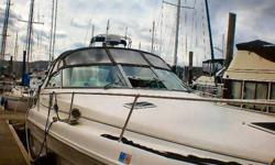 This family cruiser sleeps two in the master stateroom, two in the mid-stateroom, and two more, if necessary in the convertible settee in the salon. A color TV and stereo entertainment system enhance the comforts of the boat. A Vacuflush toilet and shower