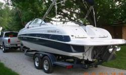 2004 Four Winns 234 $34,000 Deck boat. Less than 80 hrs, 5.7 volvo penta dual propeller. This boat is in perfect condition, capacity of 13 people, Never seen salt water. Contact