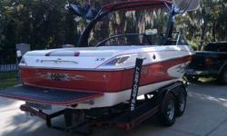Wake board boat.Superb condition 322 hours .Monsoon 340 HORSEPOWER Direct drive .Very clean, Comes with boards and barefoot bar ,two boat covers 1 is a Malibu custom fit cover exceptional deal for someone looking for a reliable sporty boat.If wake jumping