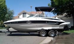 *** Highly motivated to sell - wedding to plan!!! ***2005 Crownline 220 EX deck boat with a superior 5.7 Volvo engine. Black, gray and white siding and interior detailing - like new. This boat has a tandem axle aluminum trailer (black). Low hours, great