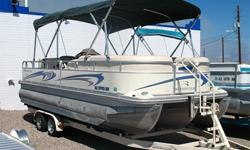 Triple Tube, 225 HP Volvo Penta 4.3GXi, SX Drive, Double Bimini Tops w/ Struts, Large Extended Swim Platform w/ Ladder, Removable Ski Tow Pylon, Sun Deck, Pop-Up Changing Room, AM FM CD, Dual Batteries w/ Switch, Fish Finding System, Cup Holders