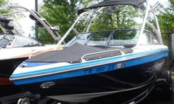 Very clean low hour 2007 Moomba Mobius LSV for sale with only 260 hours. The boat comes with triple ballast, tower, tower board racks, tower speakers, amp, sub, snap covers, hydraulic wake plate, Perfect Pass speed control, docking lights, factory trailer