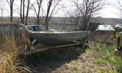 14 foot aluminum semi v bottom boat. very stable in water. no motor. I have an older minkota trolling motor that goes with. comes with a trailer that has good tires and new bearings. I have title for boat but previous owner signed in the wrong spot. I
